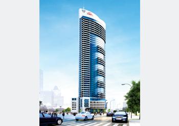 A concept of the 46-storey Symphony Tower Al Tijaria.