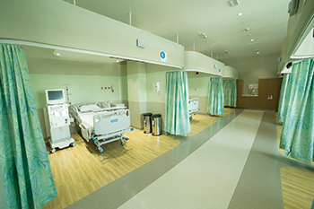 Mediclinic Dialysis Department ... an open, functional space arranged to accommodate both equipment and patients.