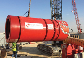 Launch of the microtunnelling equipment in Abu Dhabi.