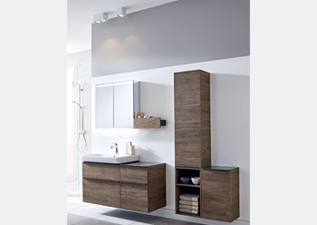 Unique bathroom designs can be created using open or closed medium and low cabinets designs.