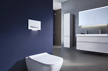 The new wall-hung WC has a square design which combines perfectly with the square washbasins.