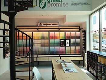 Salwa Amin Interiors' dedicated showroom for Benjamin Moore paints in Bahrain.