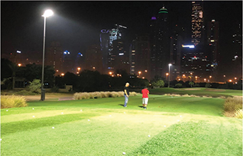 Mock-up lighting installation at the championship golf course by Etihad Esco.