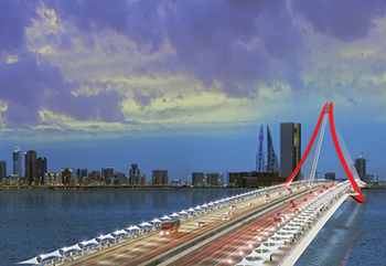The fourth Manama-Muharraq crossing ... reclamation work launched.