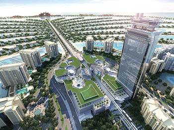 The Palm Tower, a 52-storey, luxury hotel and residential complex at Palm Jumeirah.