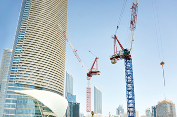 Raimondi Cranes at the Corniche Tower in Abu Dhabi.