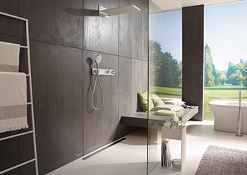 Spaciously laid out walk-in shower enclosures enable easy access.