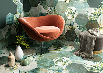 Hexagono Emerald tiles from the Amazonia collection.