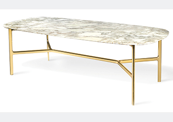 Coast Table ... brass structure with the top in wood, marble or crystal.