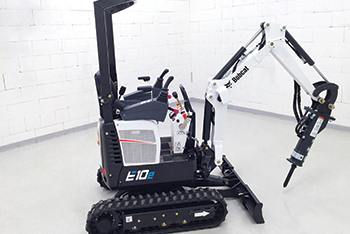 The Bobcat E10e ... industry's first fully electric, zero tail swing (ZTS) mini-excavator in the one-tonne class.