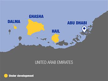 A map of the Ghasha Concession showing the Hail, Ghasha and Dalma islands.