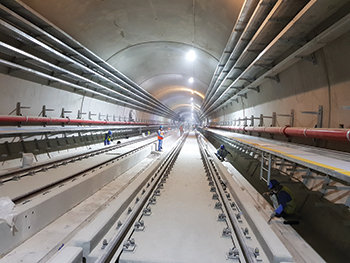 A tunnel on Line Two ... all deep tunnelling works were completed in early 2017.