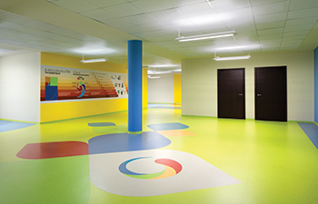 nora flooring ... installed at the Global International Indian School in Abu Dhabi.