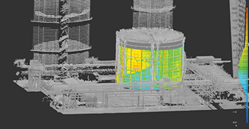 A tank analysed for shell deformation using BuildIT Construction.
