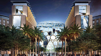 Al Wasl Plaza ... a 130-m-wide, 67.5-m-tall domed space.