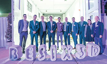Besix officials at the opening of the 3D concrete printing studio in Dubai.