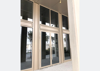 The EFP 65tb door system ... specified for the entrance doors of various buildings at the Mobility Pavilion.