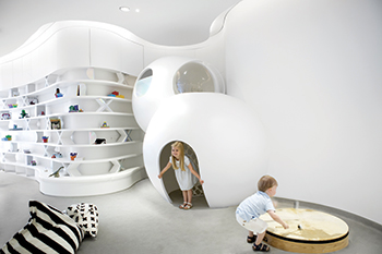 Ora, the Nursery of the Future ... a focus on curves rather than harsh angles.