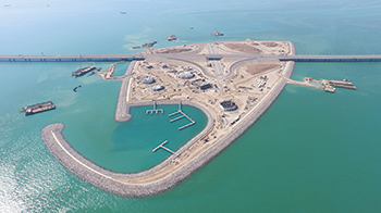 The project also involved the construction of two artificial islands.