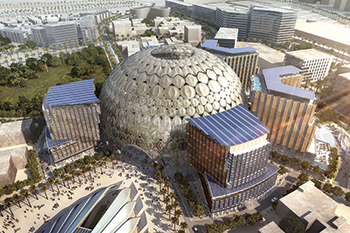 The 67.5-m-high and 130-m-wide dome puts steel at the heart of the Expo site.