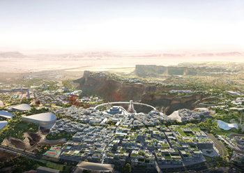 A concept of the city centre at Qiddiya.