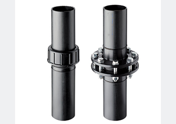 PE screw and flange (right) connection.