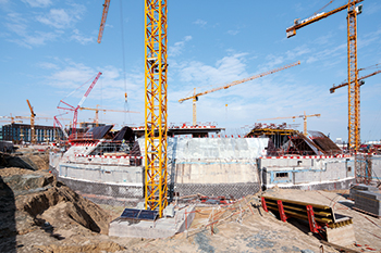 Peri formwork ... helping shape the indoor tennis centre at the university's  Al Shadadiya campus.