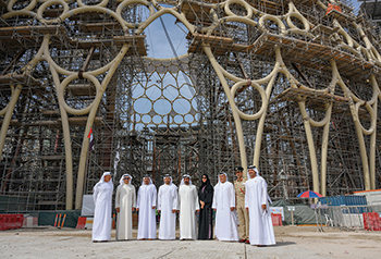 Sheikh Ahmed and other officials at the Al Wasl dome lifting at the Expo 2020 site.