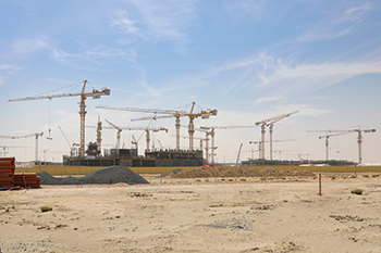 10 NFT tower cranes are at work at Expo Village in Dubai.