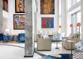 Artwork is a prominent feature of the interior design.