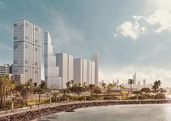 The design concept of the Wafra residential tower in Kuwait.
