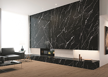 Coverlam's Marquina series ... featuring large, weighty tiles in black marble.