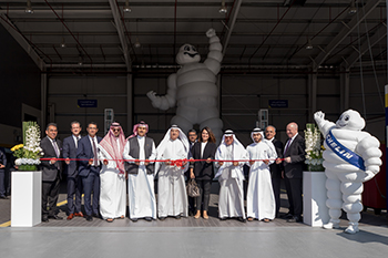 Officials at the ribbon cutting ceremony at the Michelin centre.