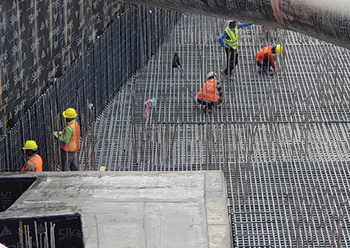 Rebar being assembled for the raft foundation.