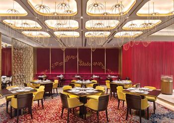 Lighting in the Indian restaurant has been designed to reinforce its grandeur.
