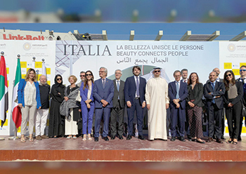 Officials at the launch of work on the Italian Pavlion.
