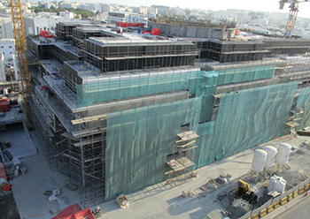 The hospital project is now in the final stages of construction.