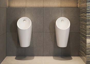 Sphero urinals use around 10 times less water than conventional urinals.
