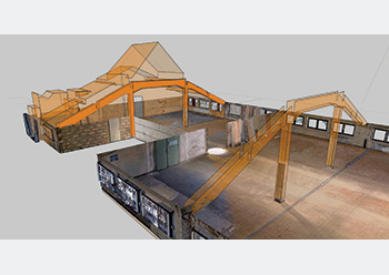 views of the scans of a factory hall with resulting watertight CAD model in As-Built Modeler.