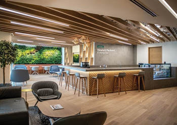 Hewlett Packard Enterprise's offices feature various breakout and quiet spaces.