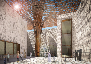 The soft curvature of the funnels of the roof canopy are made out of steam-bent wood,