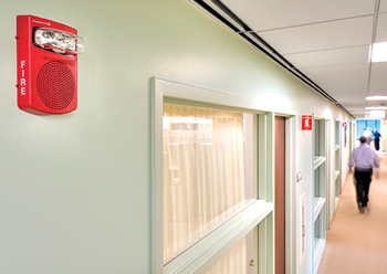 Johnson Controls fire alarm notification appliance ... featuring TrueAlert technology.
