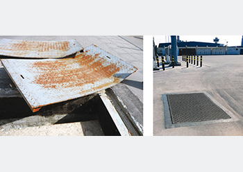 At the Bahrain manufacturing facility... the heavy plate metal covers suffered from deformation and corrosion.  They were replaced with Fibrelite's GRP trench covers (right).