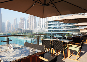The venue's distinctive feature is the mall's largest terrace overlooking Burj Khalifa.