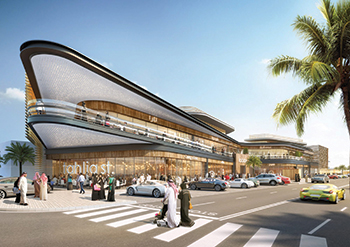 The architectural form for the shopping centre draws inspiration from Riyadh's smooth desert sandstone landscapes.