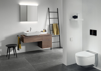 The new furniture range for Geberit VariForm lay-on washbasins makes it possible to create customised solutions for the washbasin area.