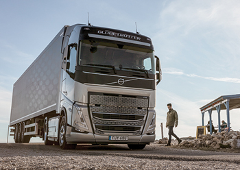 The Volvo FH features adaptive high beam headlights for enhanced safety.
