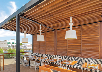 Falla features a dedicated external dining area.