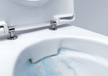 Geberit Rimfree technology ....the flow of water is controlled just before it reaches the ceramic pan.