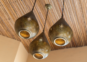Modern but Persian-inspired lighting was incorporated throughout the restaurant.